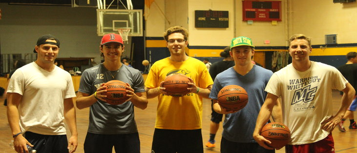 Merrimack student volunteers at the Open Gym Night on Tuesdays from 5:00pm - 7:30pm in the St. Mary's Gym. From left to right: Kellen Smith, Ludvig Larrson, Craig Pantano, Ben Bahe, Christopher Comeau.